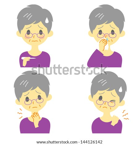 Disease Symptoms 02, fever, sore throat,dripping nose,stiff neck, expressions, old woman - stock vector