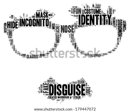disguise vector tag cloud illustration - stock vector