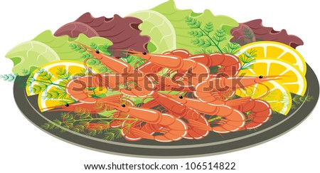 Dish from shrimps and vegetables. vector - stock vector
