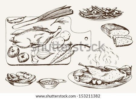 dish of wild ducks. set of vector sketches