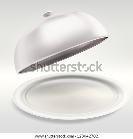 Dish served: glossy ceramic salver with an empty copyspace food chrome metal cover over it, eps10 vector composition illustration - stock vector