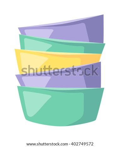 Dish soup bowl and soup bowl food. Dinner soup bowl plate healthy restaurant lunch ceramic container. Gourmet cook tableware. Bowls soup pile composition in merging color flat vector illustration. - stock vector