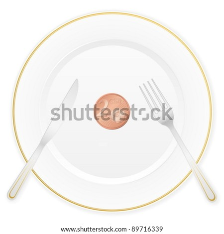 Dish with cutlery and 2 euro cent coin. Vector illustration. - stock vector