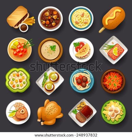 dishes icon set-3 - stock vector