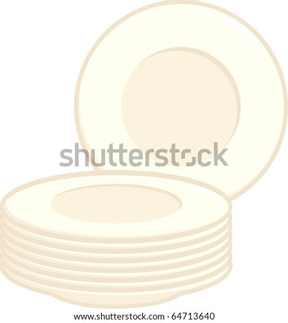 dishes or plates - stock vector