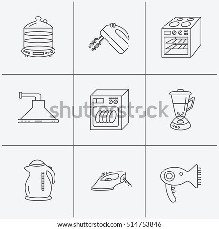 Dishwasher, kettle and mixer icons. Oven, steamer and iron linear signs. Hair dryer, blender and kitchen hood icons. Linear icons on white background. Vector