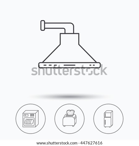 Dishwasher, refrigerator fridge and toaster icons. Kitchen hood linear sign. Linear icons in circle buttons. Flat web symbols. Vector - stock vector