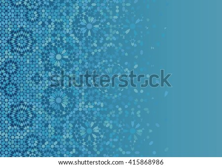 Disintegration mosaic Template. Traditional Morocco Islamic Arabic Design. Blue and light blue.