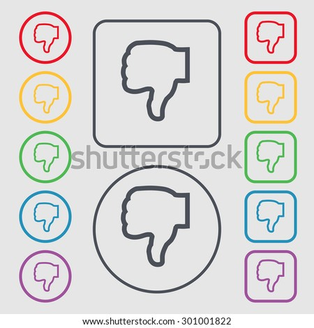 Dislike icon sign. symbol on the Round and square buttons with frame. Vector illustration - stock vector