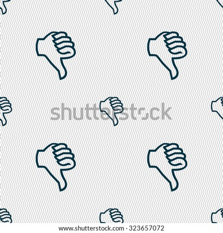 Dislike sign icon thumb down sign hand finger down symbol seamless