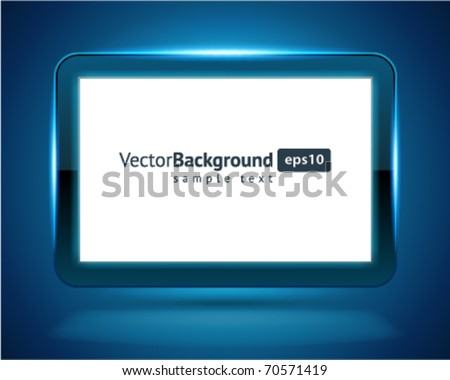 Display Screen fly with light vector background. Eps 10. - stock vector
