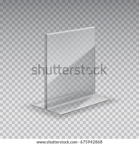 Display Stand Acrylic Table Card Holder Stock Vector