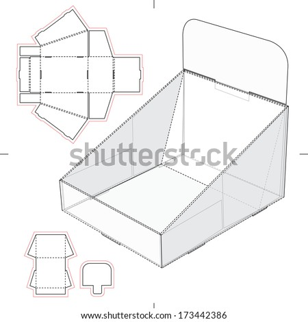 Display Stand Tray with Blueprint - stock vector