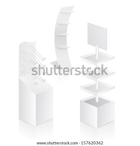Display with shelves in vector