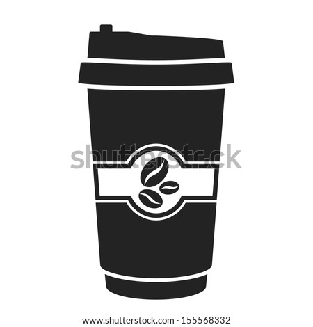 disposable coffee cup black icon. vector illustration - stock vector