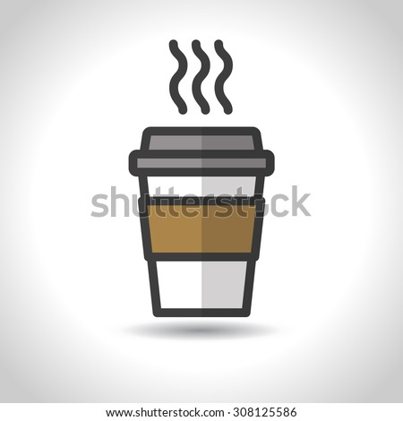 Disposable coffee cup icon. Vector, flat design - stock vector