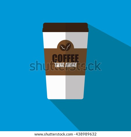 Disposable coffee cup icon with coffee beans and message logo, Vector illustration flat design with long shadow.  - stock vector