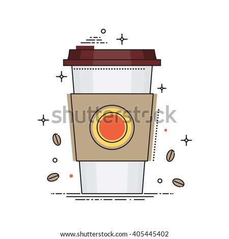 Disposable coffee cup icon with coffee beans, conceptual vector illustration in flat line design. Paper coffee cup isolated on white background. Coffee stock vector - stock vector