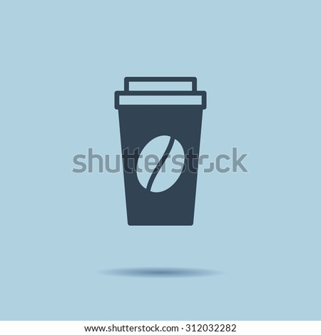 Disposable coffee cup icon with coffee beans logo, Vector illustration flat design - stock vector