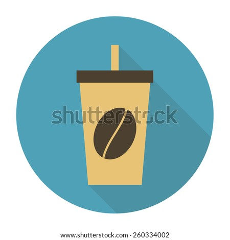 Disposable coffee cup icon with coffee beans logo, Vector illustration flat design with shadow - stock vector