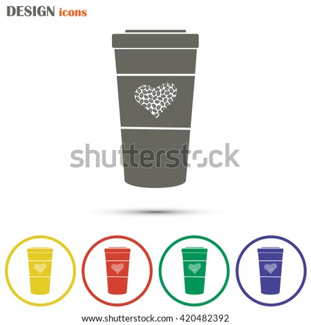 Disposable coffee cup icon with coffee beans, Vector illustratio - stock vector