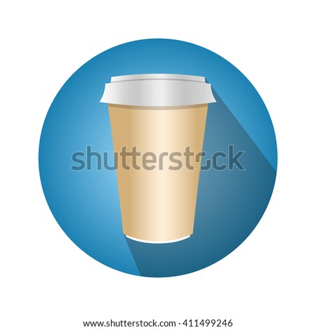 Disposable coffee cup vector. Icon for web and mobile application. Flat design style.