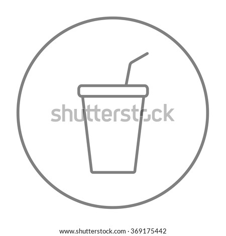 Disposable cup with drinking straw line icon. - stock vector