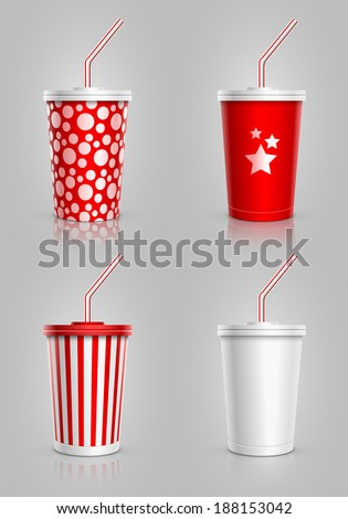 Disposable cups for beverages with straw collection. Vector illustration. - stock vector