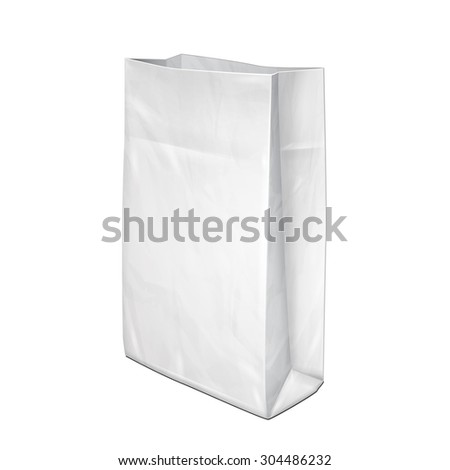 Disposable Paper Or Plastic Shopping Bag Package Grayscale White. Illustration Isolated On White Background. Mock Up Template Ready For Your Design. Product Packing Vector EPS10 - stock vector
