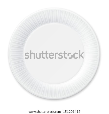 Disposable Paper Plate. Isolated on White. Vector Illustration. - stock vector