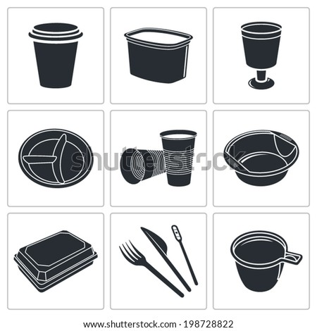 Disposable tableware Icons - stock vector