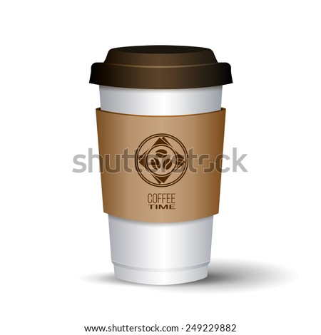 Disposable white coffee cup with brown lid and paper holder. Round logotype with three coffee beans. Shadowed. Isolated. Perfect for coffee shop interior, website, products decor. Vector illustration. - stock vector