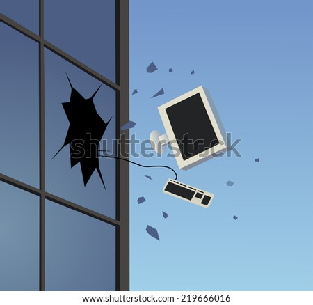 dispose of pc - stock vector