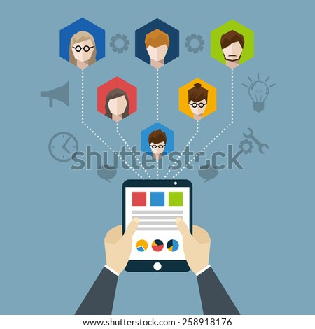 Distant management concept with businessman hands holding tablet with employees network vector illustration - stock vector