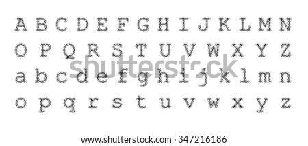 Distorted dotted font vector illustration. - stock vector