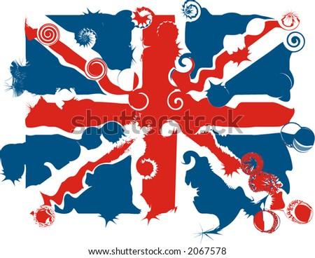 Distorted Union Jack - vector - stock vector