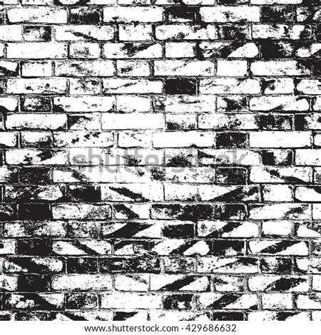 Distressed Brick Wall Overlay Texture. Empty Grunge Design Element. EPS10 vector. - stock vector