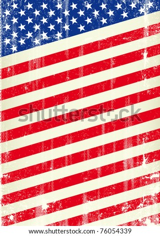 Distressed Flag of United States of America, Grunge Style - stock vector