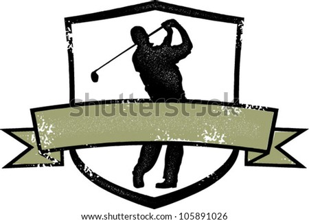 Distressed Golf Crest - stock vector