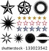 Distressed Grunge Star Design Elements - stock vector