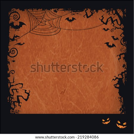 Distressed orange brown background with dark Halloween themed framed, scary tree branches, creepy bats, a big spiderweb with two  pumpkin faces make it a backdrop for trick and treat Halloween stuff. - stock vector