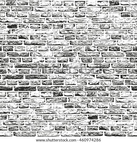 Distressed overlay texture of old brickwork  grunge background  abstract  halftone vector illustration. Brick Wall Overlay Texture Your Design Stock Vector 266756153