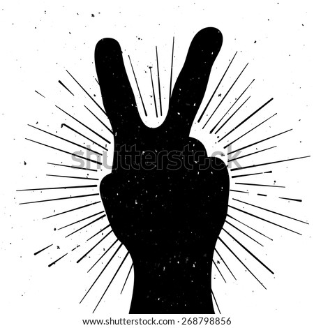 Distressed peace sign silhouette, grunge template for your text - stock vector
