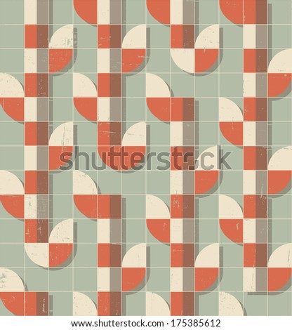 distressed retro vector seamless pattern illustration (aging effect can be removed easily) - stock vector