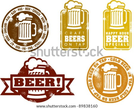 Distressed Style Beer Stamps - stock vector