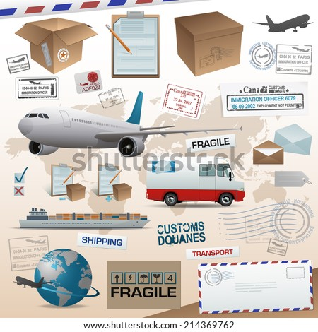 Distribution and shipping elements eps 10 - stock vector