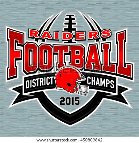 District Champs Football Tshirt Graphic Design Stock