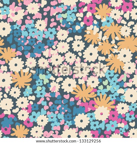 ditsy popcorn floral seamless background - stock vector