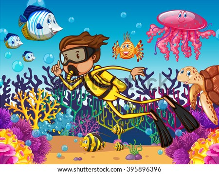 Diver diving underwater with many sea animals illustration - stock vector