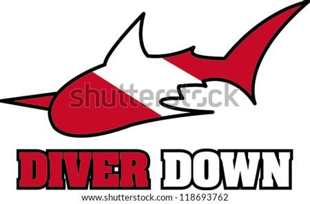 diver down - stock vector